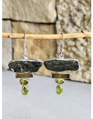 Moldavite, Tourmaline & Peridot Bar Earrings