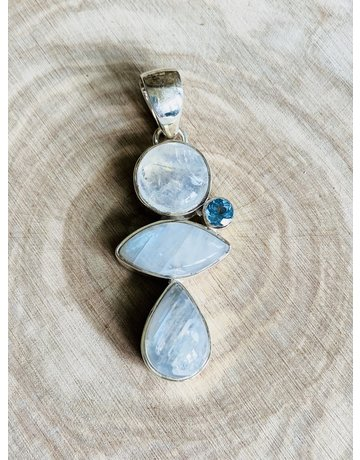 Triple Rainbow Moonstone & Blue Topaz Pendant