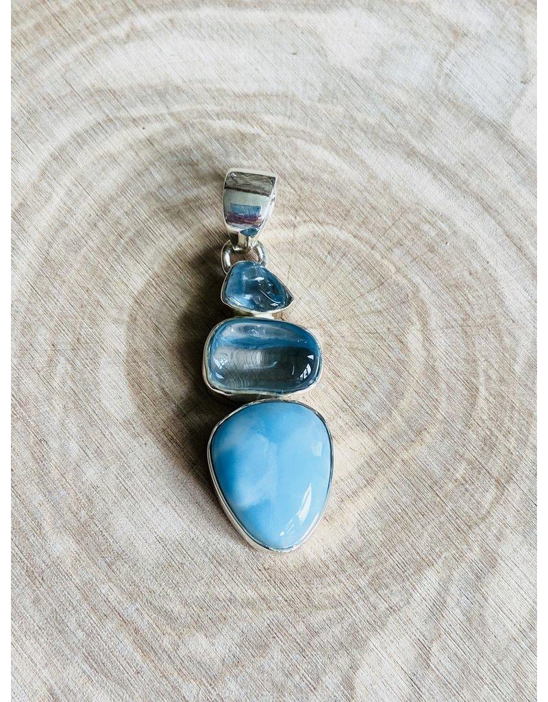Larimar & Rough Blue Topaz Pendant