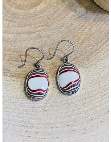 Oval Fordite Earrings