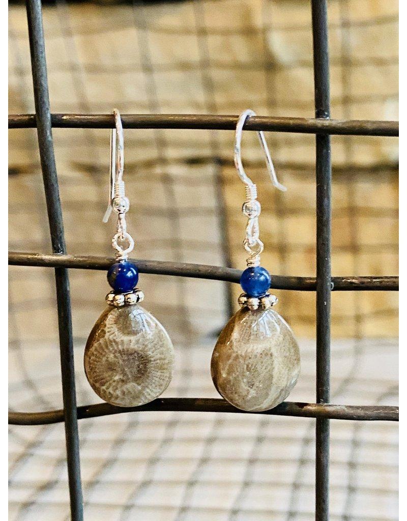 Petoskey Stone w/Leland Blue Drop Earrings