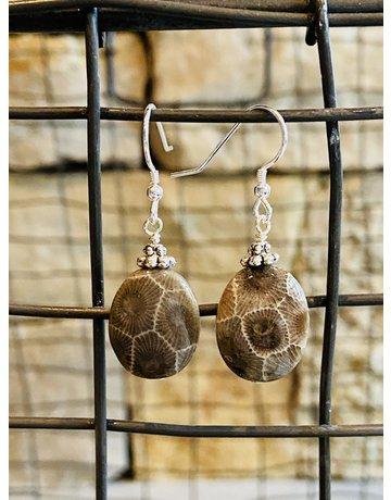 Petoskey Stone Sterling Dangle Earrings