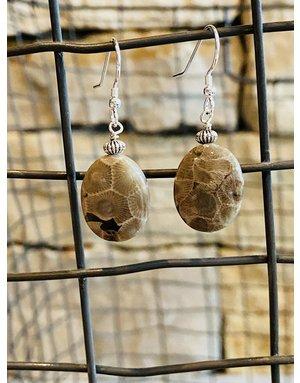 Petoskey Stone Dangle Earrings