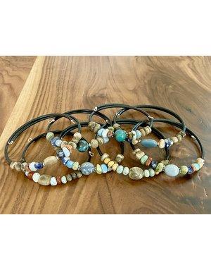 Petoskey Stone & Leland Blue Memory Wire