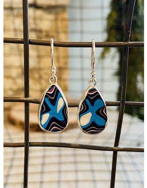 Fordite Teardrop Earrings