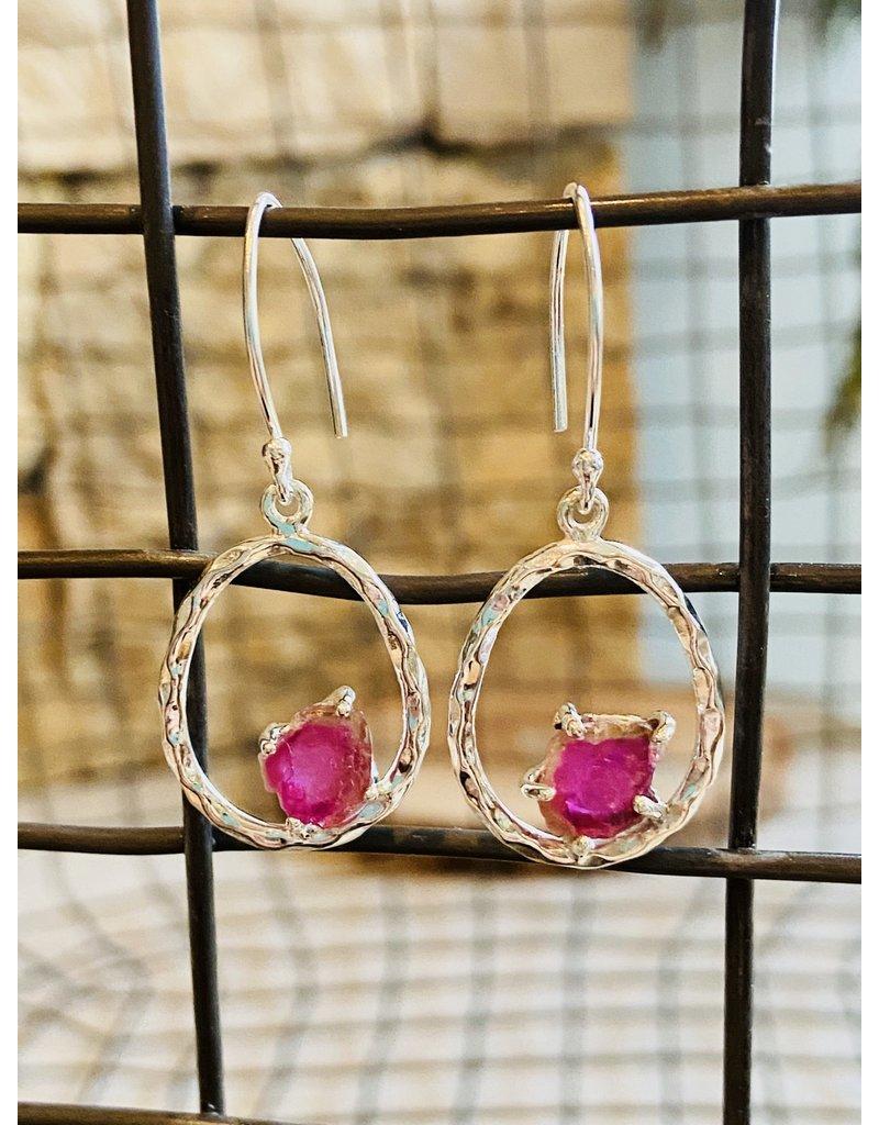 Tourmaline Circle Earrings