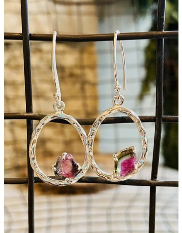 Tourmaline Circle Earrings