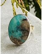 Amazonite & Smokey Quartz Ring - Size 7