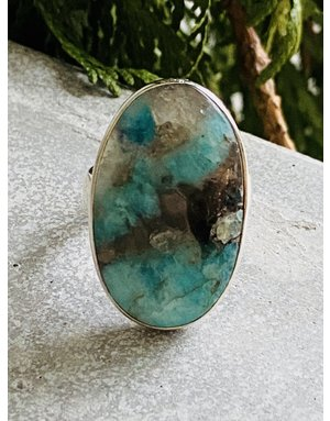 Amazonite & Smokey Quartz Ring - Size 7
