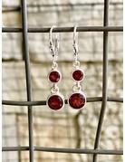 Garnet Round Double Drop Earrings