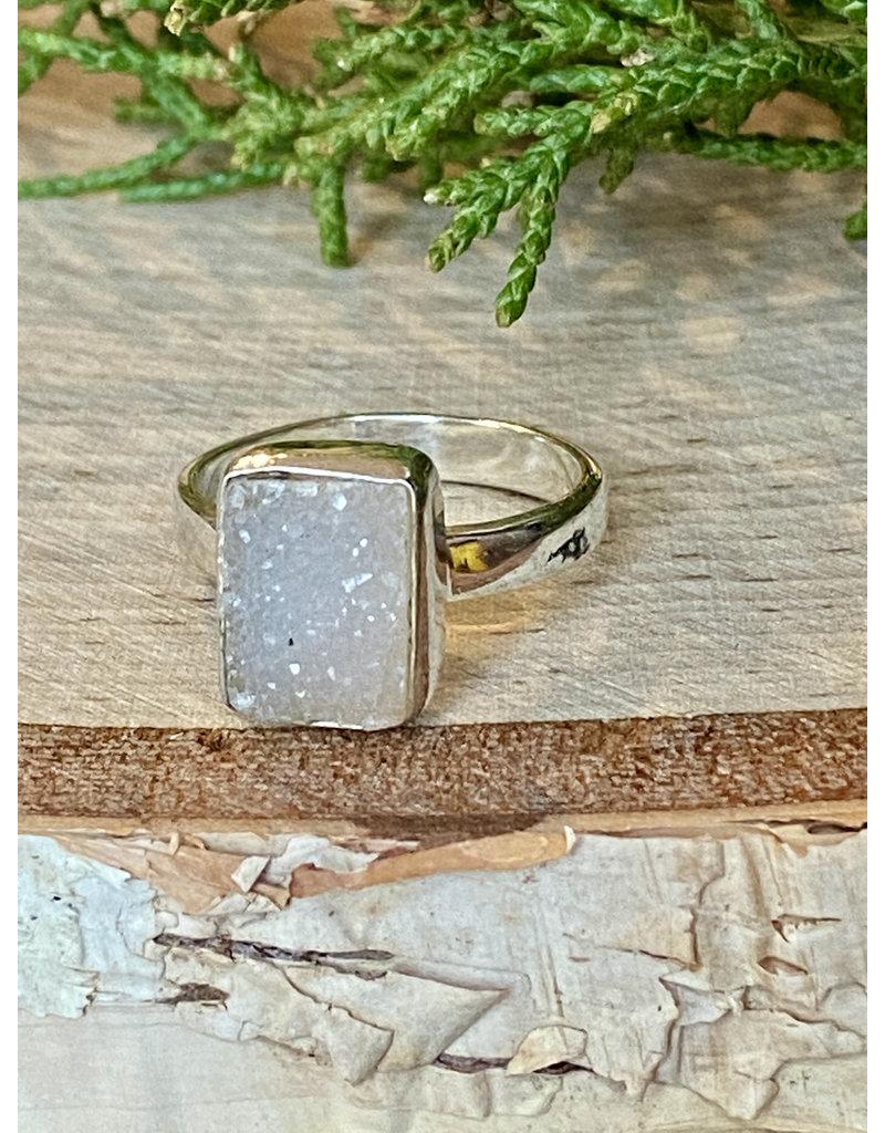 White Druzy Ring - Size 7