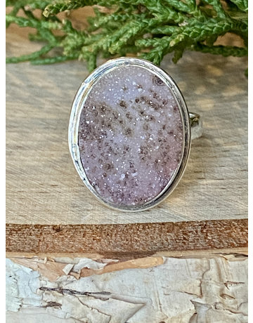 Oval Pink Druzy Ring - Size 9