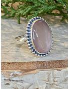 Oval Rose Quartz Ring - Size 6