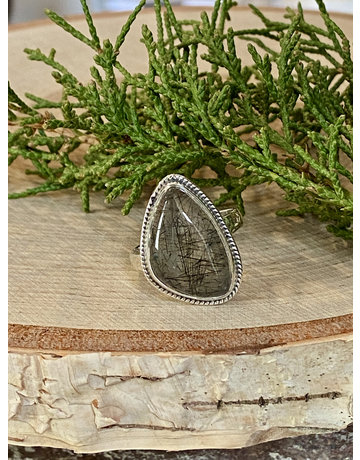 Black Rutile Quartz Ring - Size 9
