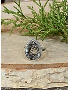 Faceted Black Rutile Quartz Ring - Size 8