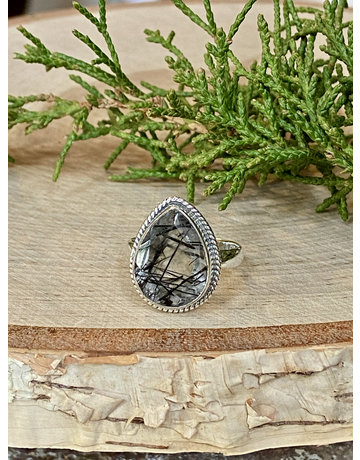 Faceted Black Rutile Quartz Ring - Size 8