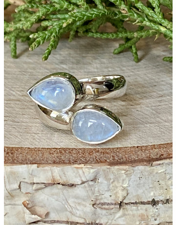 Double Teardrop Moonstone Ring - Size 8