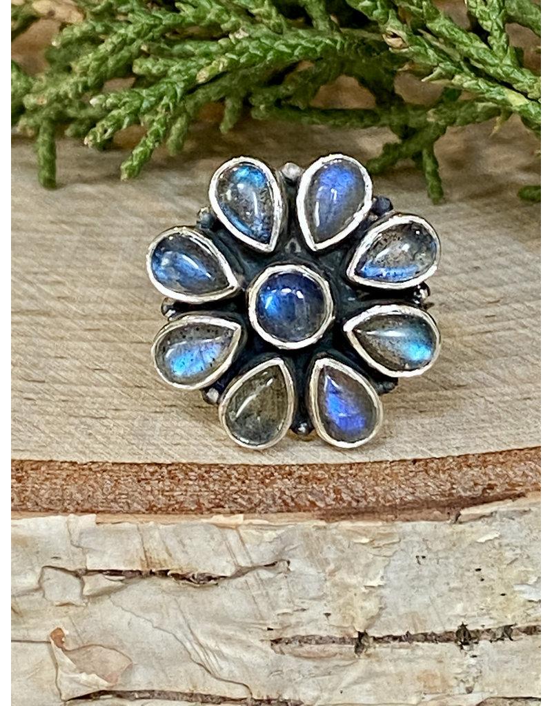Labradorite Flower Ring - Size 8