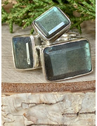 Labradorite Rectangle Cluster Ring - Size 9