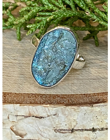 Rough Labradorite Ring - Size 9