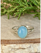 Oval Blue Chalcedony Ring - Size 8