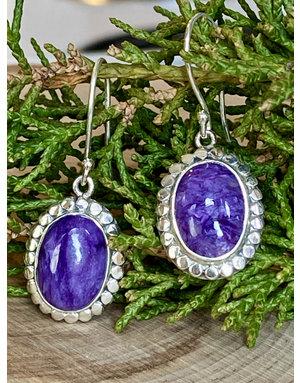 Charoite & Sterling Dot Earrings