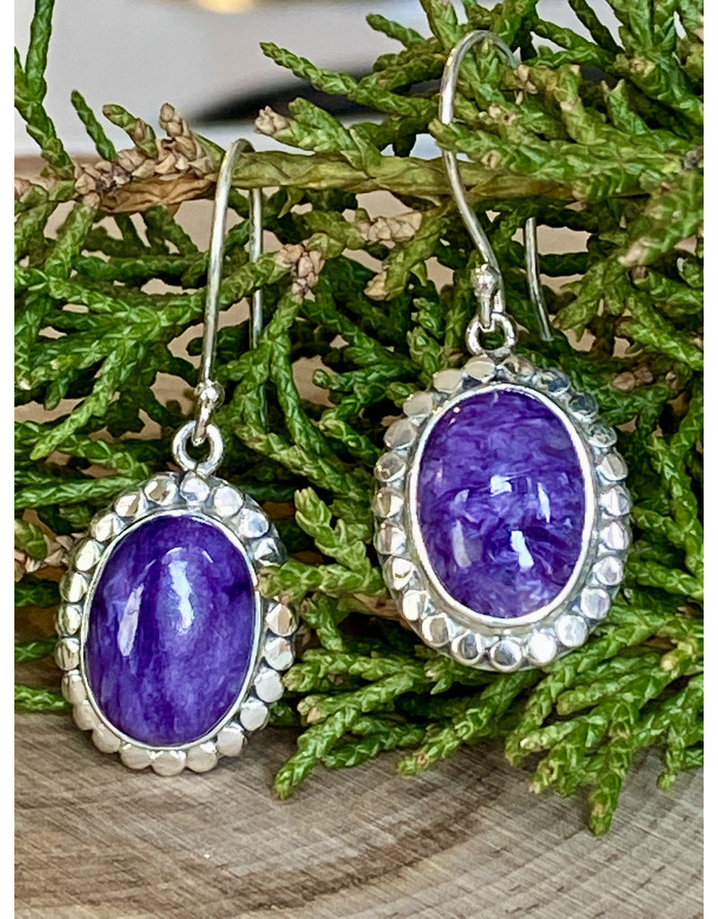 Charoite & Sterling Dot Earrings