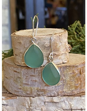 Aqua Beach Glass Earrings