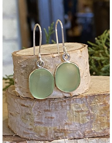 Green Oval Beach Glass Earrings