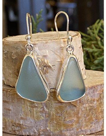 Light Blue Beach Glass Earrings