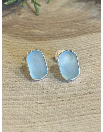 Aqua Beach Glass Studs