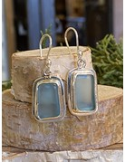 Ice Blue Beach Glass Rectangle Sterling Earrings