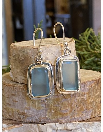 Light Blue Beach Glass Rectangle Earrings