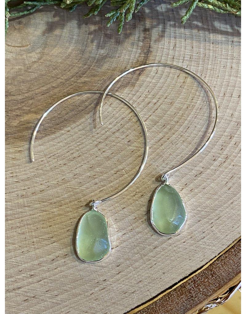 Light Green Beach Glass Hoops