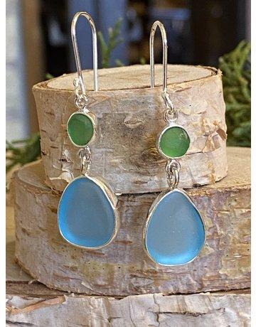 Blue & Green Beach Glass Drop Earrings