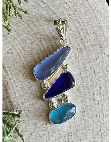 Multi Blue Beach Glass Pendant