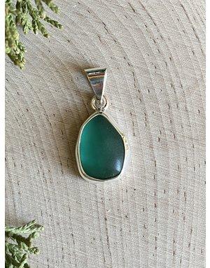 Aqua Beach Glass Tear Drop Pendant