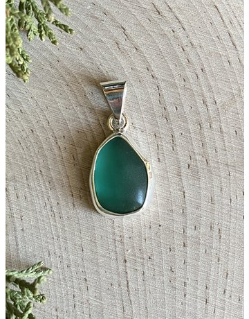 Aqua Beach Glass Tear Drop Pendant