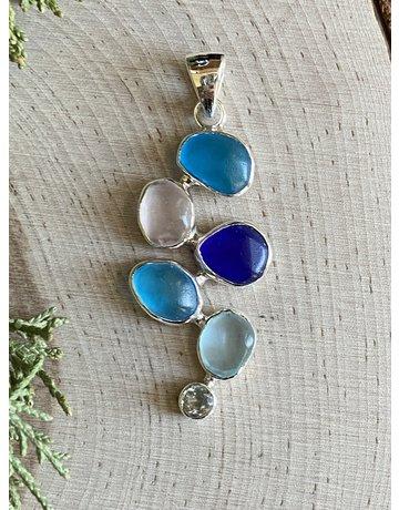 Multi Blue Beach Glass Ball Pendant