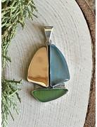 Blue & Green Beach Glass Sailboat Pendant