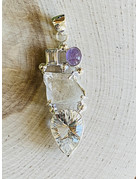 Amethyst & White Quartz Tiered Pendant