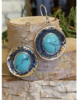 Turquoise Round Hammered Earrings