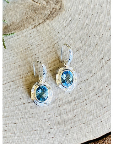 Blue Topaz Hammered Sterling Oval Earrings
