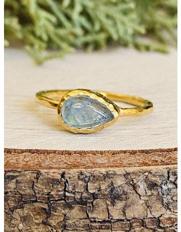 Blue Moonstone Hammered GF Teardrop Ring - Size 6