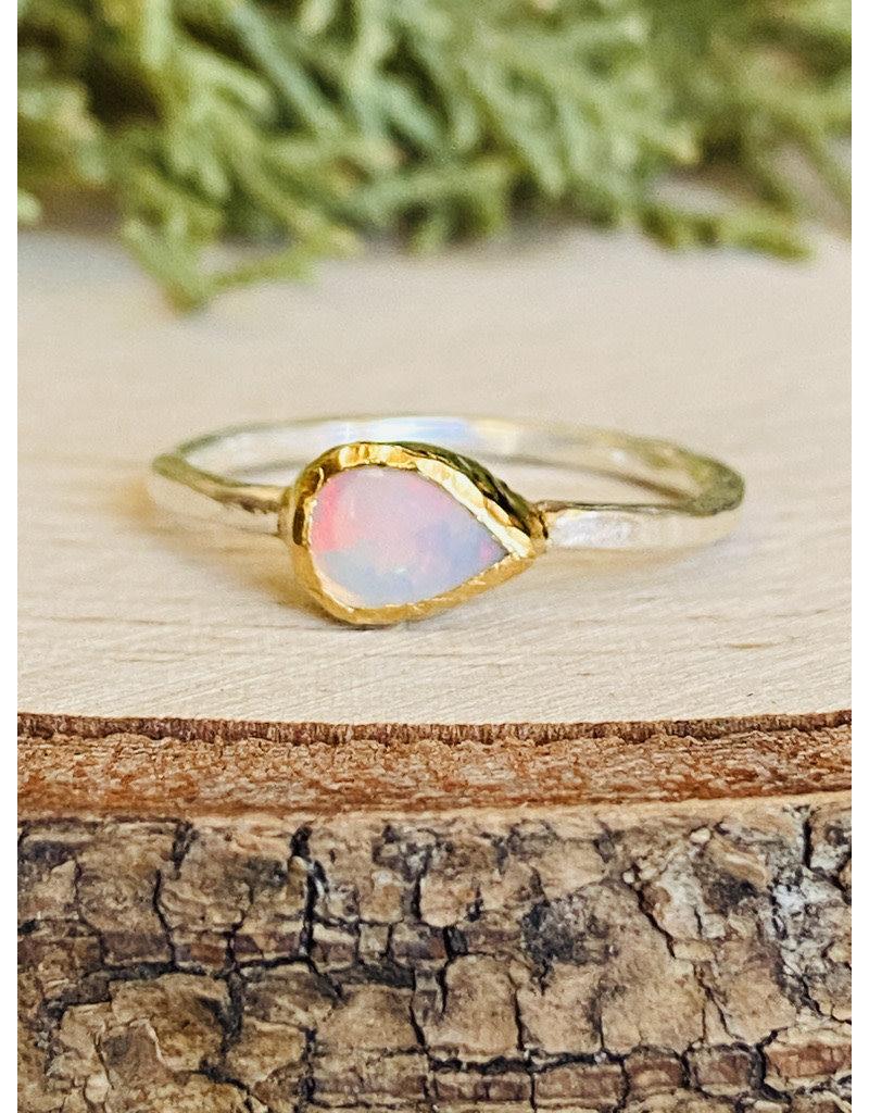 Ethiopian Opal Hammered GF Bezel Teardrop Ring - Size 8
