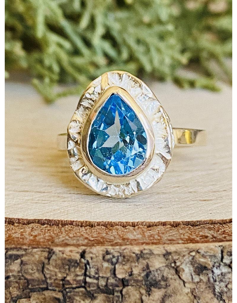 Blue Topaz Teardrop Double Bezel Ring - Size 6
