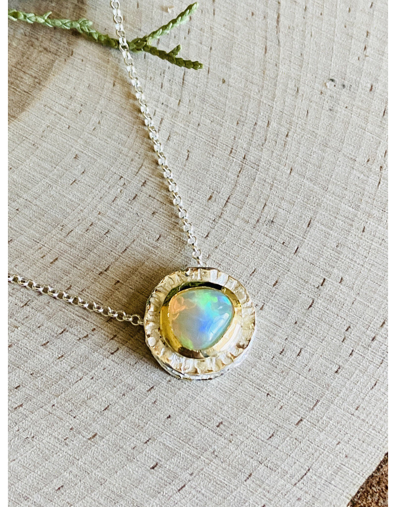 Ethiopian Opal Double Sterling Necklace