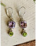 Amethyst & Peridot Double Drop Earrings