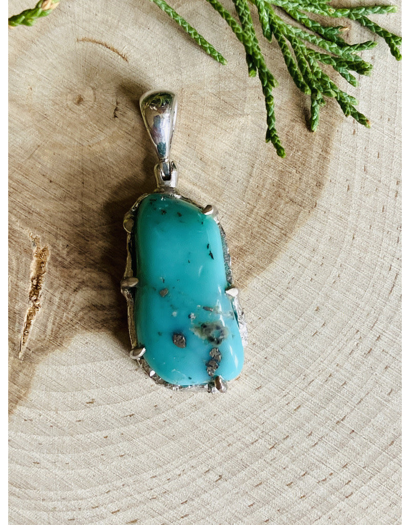 Campitos Turquoise Nugget w/Pyrite Pendant