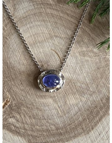 Tanzanite Oval Double Sterling Necklace
